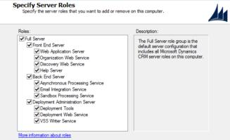 MS Dynamics CRM Server Roles